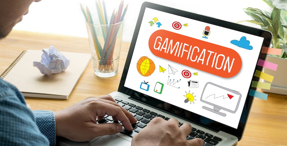 A user utilizing learning through gamification on the iGrad Financial Wellness program